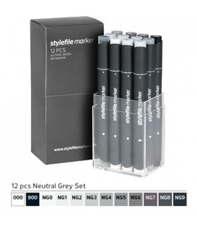 STYLEFILE MARKER SET 12 NEUTRAL GREY