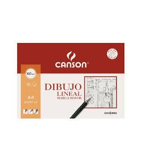 Papel Dibujo Lineal A4 Canson Marca Mayor 10 hojas