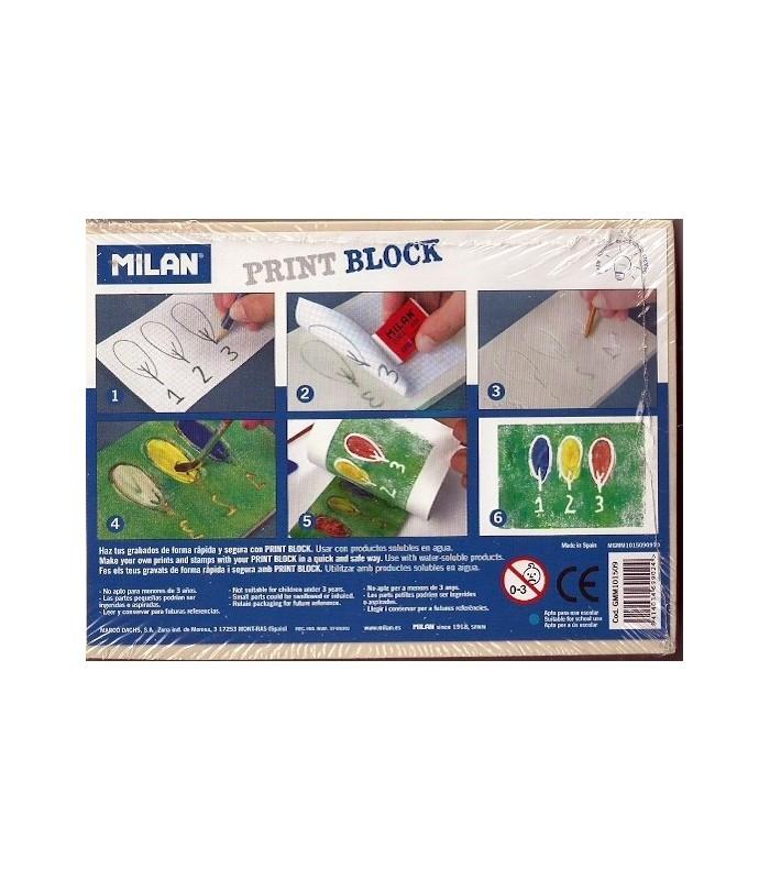Plancha Grabado Print Block Milan 10x14,2x0,9Cm