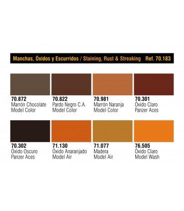 Set Vallejo Manchas, Oxido y Veteado Modelcolor 70183