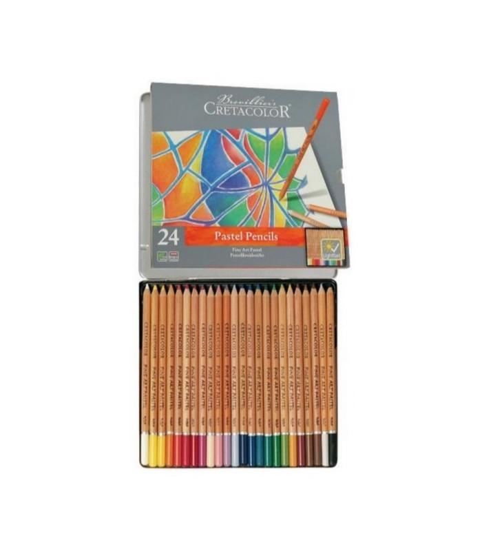 Estuche metálico lápiz pastel Cretacolor 24u.