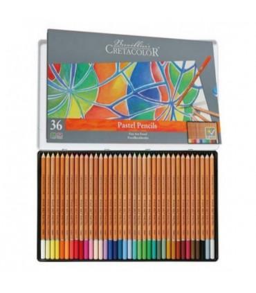 Estuche metálico lápices pastel 36u Cretacolor