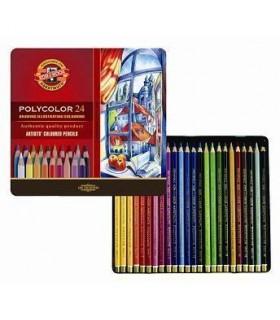 Estuche metálico lápices de color Polycolor 24 3824