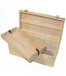 Caja madera vacía para pintura y pinceles Michel 13137