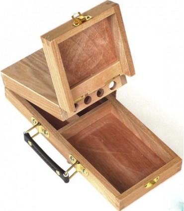 Caja de madera bambú para pintura y pinceles de mango corto Michel 13142