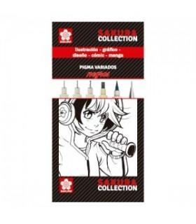 Set rotuladores NEGROS Pigma Sakura PO06001