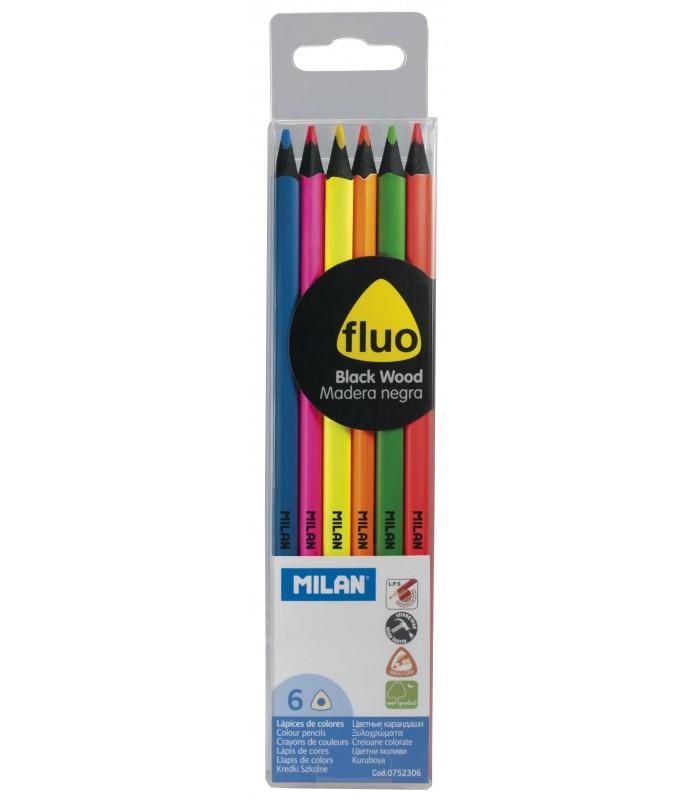 Milan blister 6 lápices colores fluorescentes con madera negra 752306