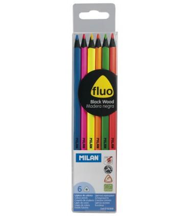 Milan blister 6 farbige fluoreszierende Farben mit schwarzem Holz 752.306