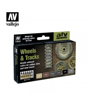Set Vallejo Model Air 6 u. (17 ml.) Wheels & Tracks 71213