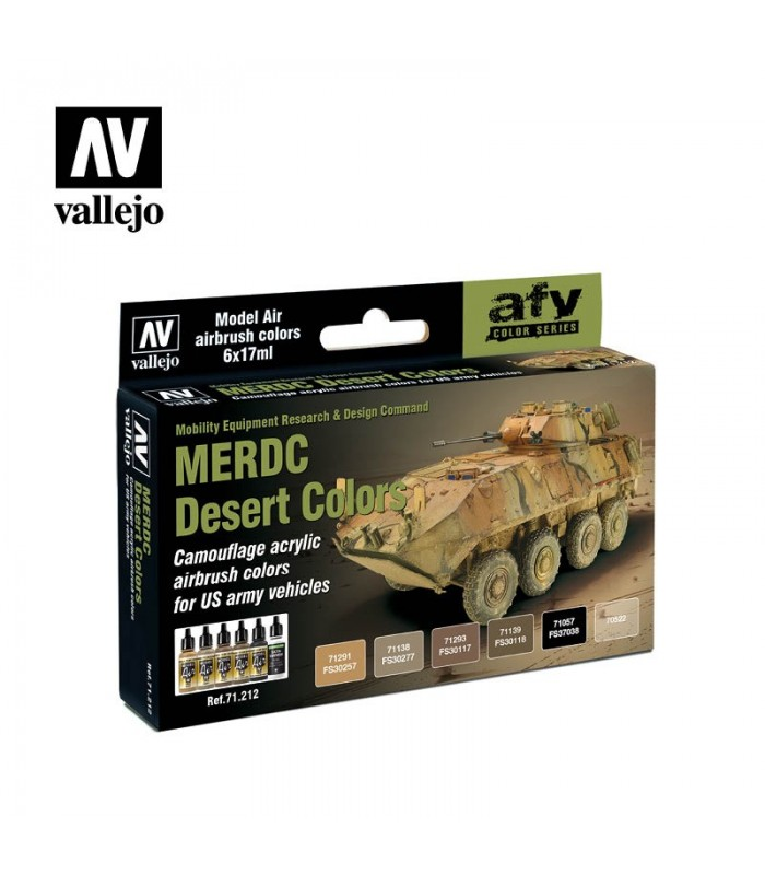 Set Vallejo Model Air 6 u. (17 ml.) MERDC Desert Colors 71213