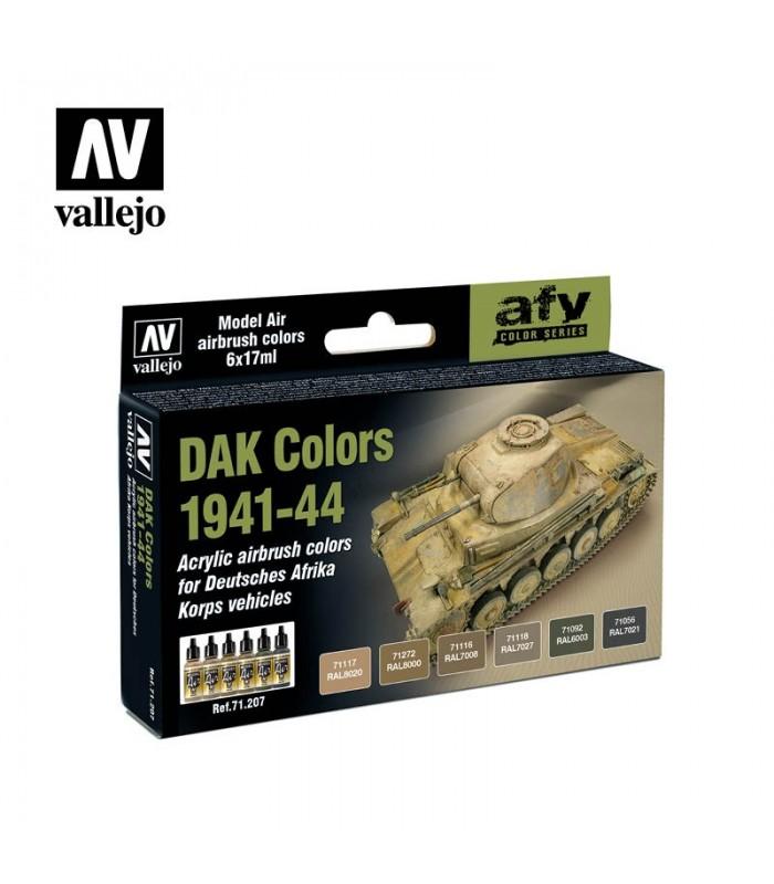 Set Vallejo Model Air 6 u. (17 ml.) DAK Colors 1941-44 71207