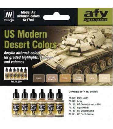Set Vallejo Model Air 6 u. (17 ml.) US Modern Desert Colors 71209