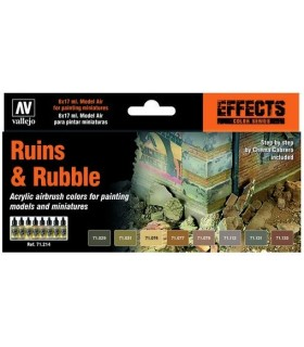 Set Vallejo Model Air 8 u. (17 ml.) Ruins & Rubble 71214