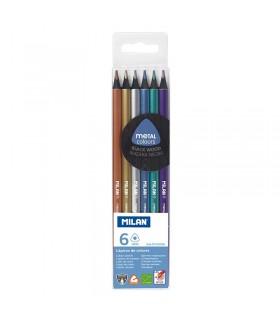 Boîte de 6 crayons de couleur métalliques triangulaires