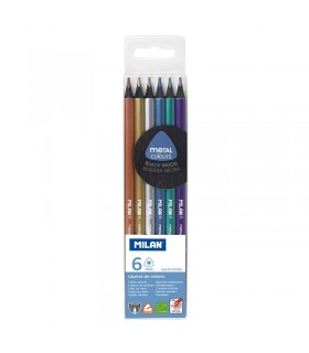 Case of 6 triangular metallic colored pencils