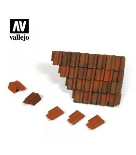 Conjunto de telhas e seção de telhado em ruínas Vallejo Scenics