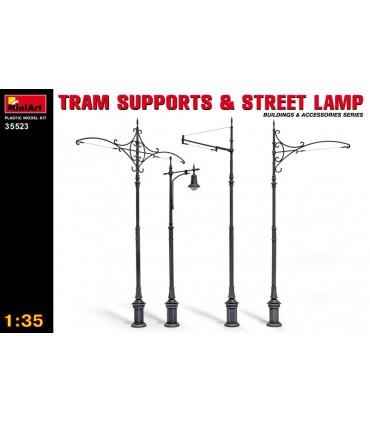 Acessórios MiniArt stands de bonde e lâmpadas de rua 1/35 35523
