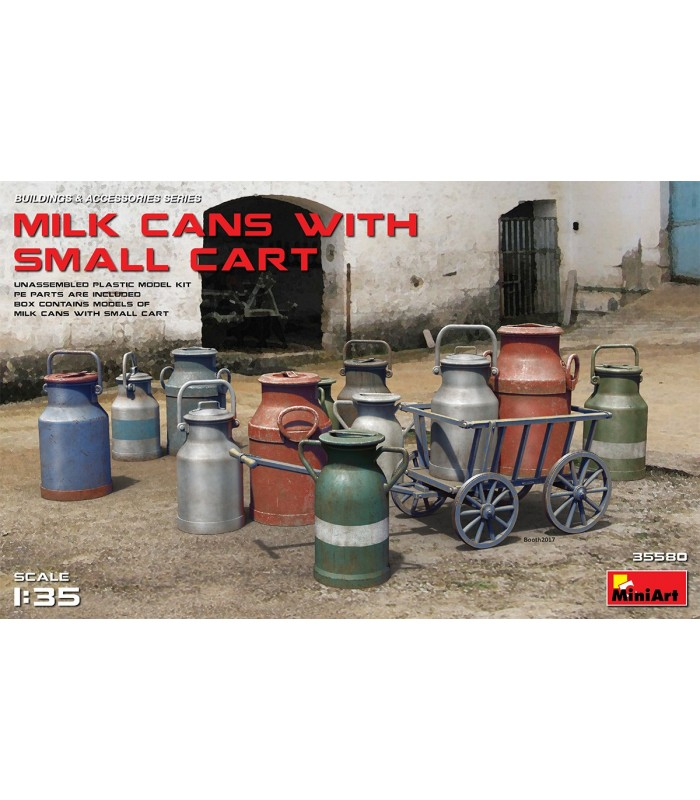 MiniArt Accesorios Milk Cans + Small Cart, escala 1/35