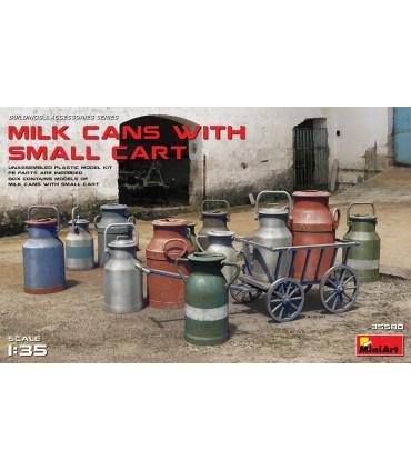 MiniArt Accesorios Milk Cans + Small Cart, escala 1/35