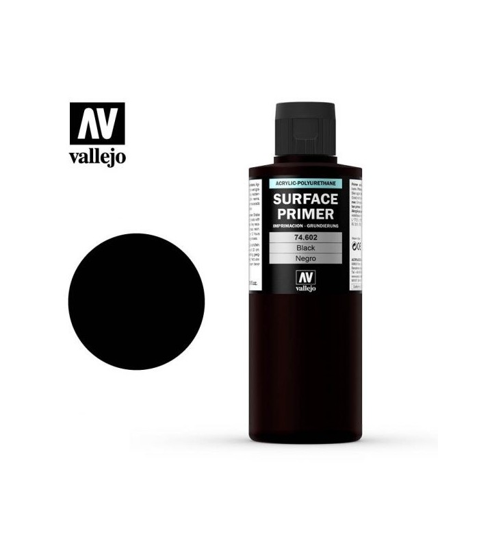 74602 Vallejo Black Acrylic Primer 200ml