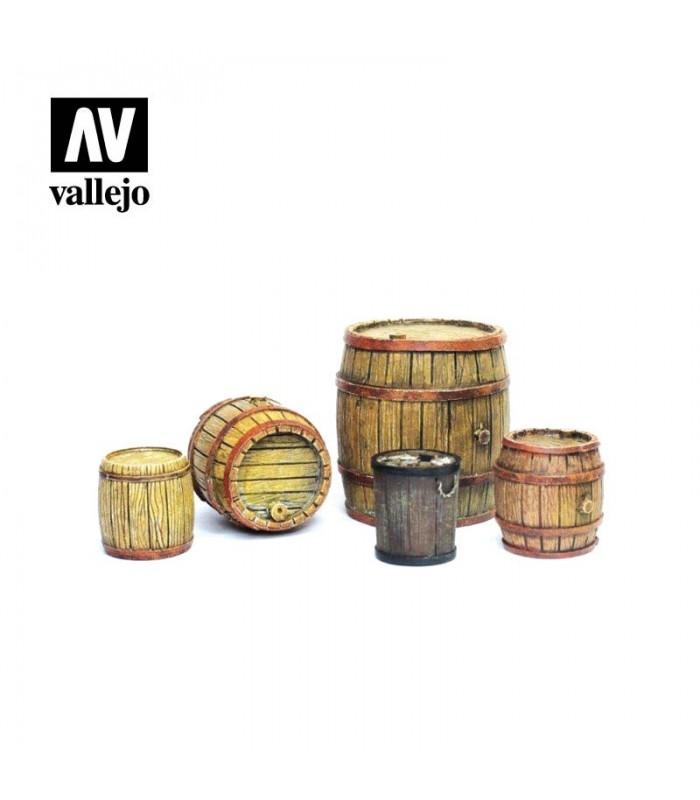 Barriles de madera Scenics Vallejo 1/35 SC225