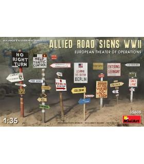 Accessori MiniArt Segnaletica stradale alleata WWII scala Europa: 1/35