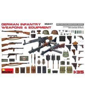 Acessórios MiniArt - armas e equipamento de infantaria alemã, escala 1/35