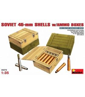 Acessórios Cartuchos MiniArt soviéticos de 45 mm c / caixas de munição, escala 1/35