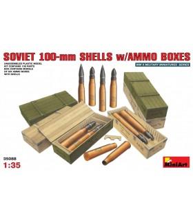 Acessórios Invólucros soviéticos de 100 mm com caixas de munição 1/35