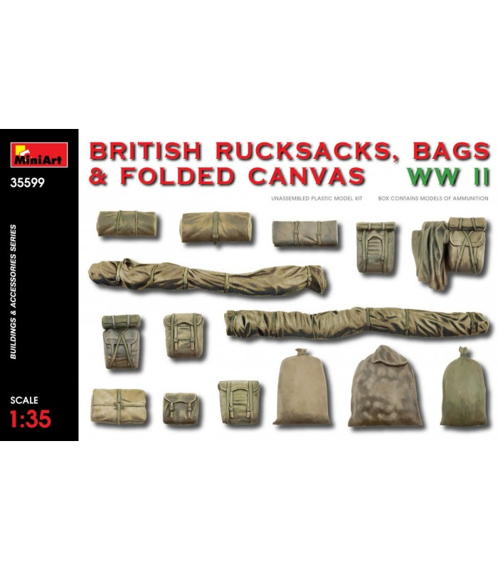 MiniArt maquetas Accesorios British Rucksack Bag Canvas WW2. Escala: 1/35