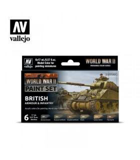 Impostare l'armatura britannica della seconda guerra mondiale e la fanteria Acrylicos Vallejo 70204