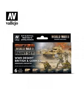 Conjunto Segunda Guerra Mundial Deserto Britânica e Alemã Armadura e infantaria Acrílicos Vallejo 70208
