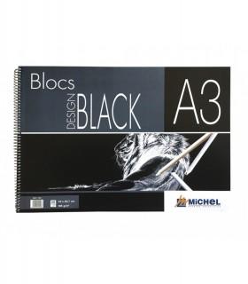 Design Pad Michel Noir Spiral DIN A4 30 Feuilles Carton Noir 185 Gr.