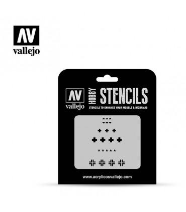 Vallejo Stencils Distintivos Carros Combate Alemanes WWII ST-AFV001