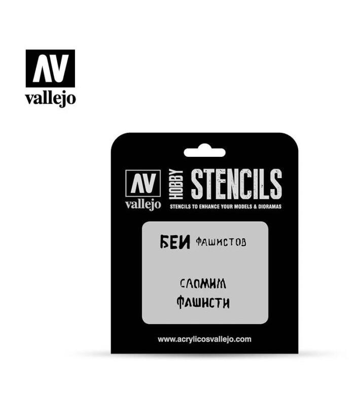 Vallejo Stencils Eslóganes Rusos WWII Nº1 ST-AFV004