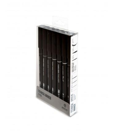 Set rotuladores MTN calibrados negros 7 u.