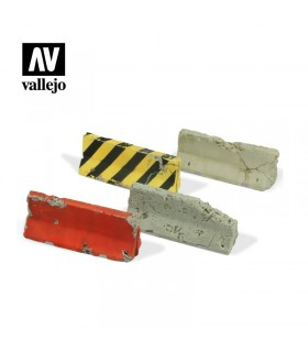 Barreras de cemento dañadas